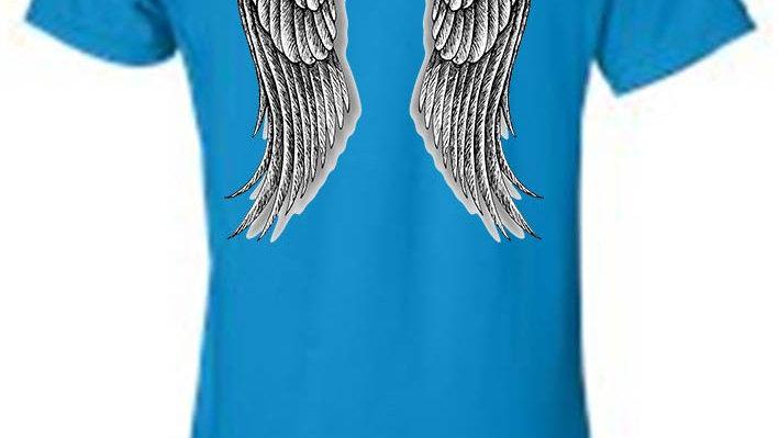 Women's Juniors Biker Angel Wings T-Shirt