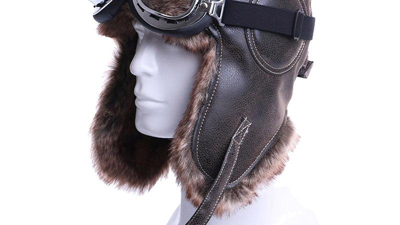 Aviator Pilot Hat Faux Leather Fur Snow Cap