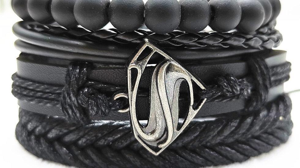 Infinity Black Beads Charm Link Alloy Handmade Woven Men Leather Bracelets