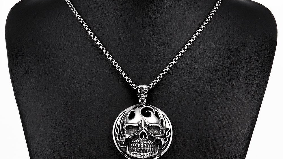 Flaming Skull Necklace in Stainless Steel