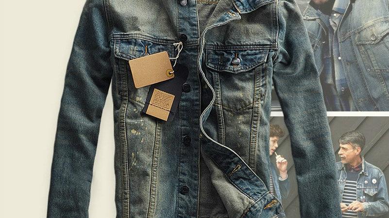 Men Ripped Jeans Jackets Patchwork Distressed Denim Man Slim FitVintage Jacket