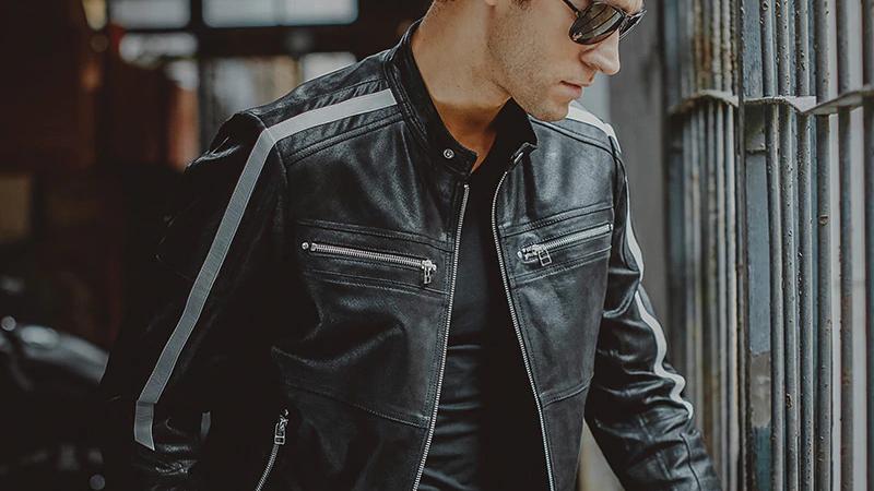 Men's Motorcycle Pigskin Genuine Leather Jacket