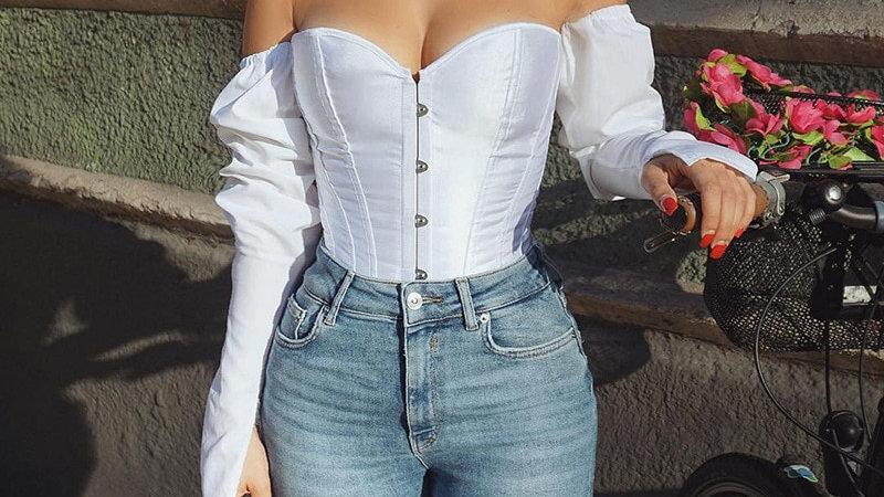 Vintage Off Shoulder Girdle Backless Bandage Women Blouse Corset Top