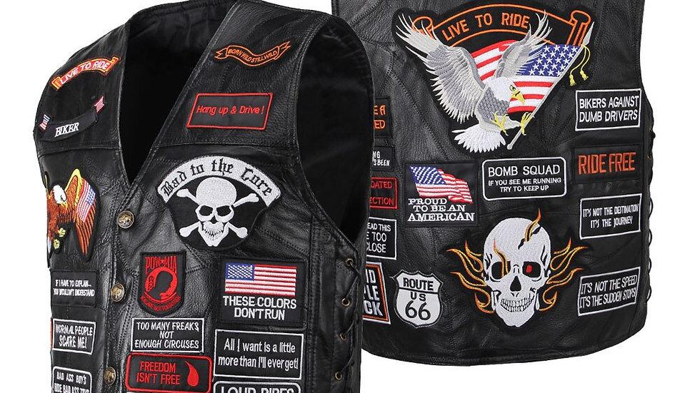 Motorcycle Jacket Man Vintage Genuine Leather Cafe Racer Retro Motorcycle Vest
