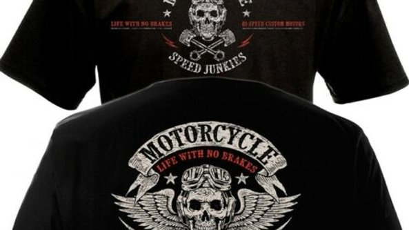 Short Sleeve Tshirts T-Shirt MOTORCYCLE SPEED Biker Chopper Double Side