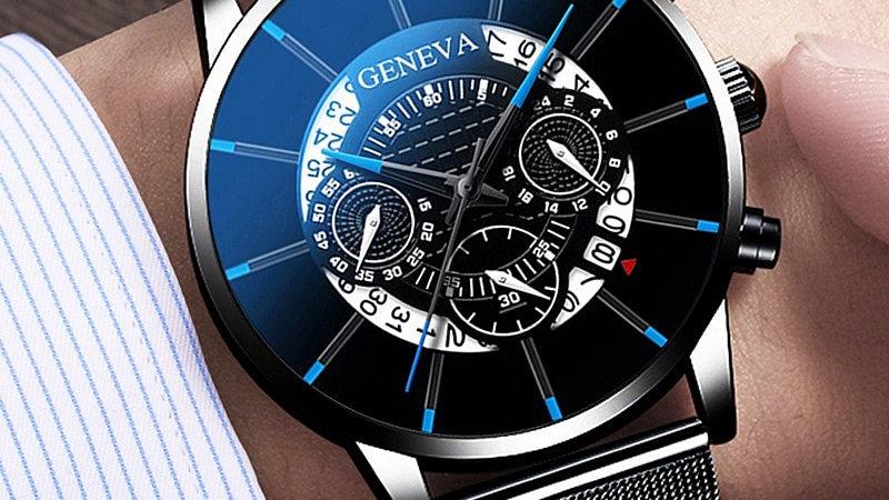 Men's Watch Stainless Steel Calendar Quartz Wristwatch Men Geneva