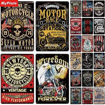 Motorbike Metal Sign Vintage Plaque Tin Sign Wall Decor for Garage