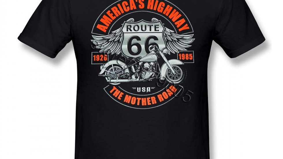 Route 66 America Highway Cotton T-Shirt Womens Mens Biker