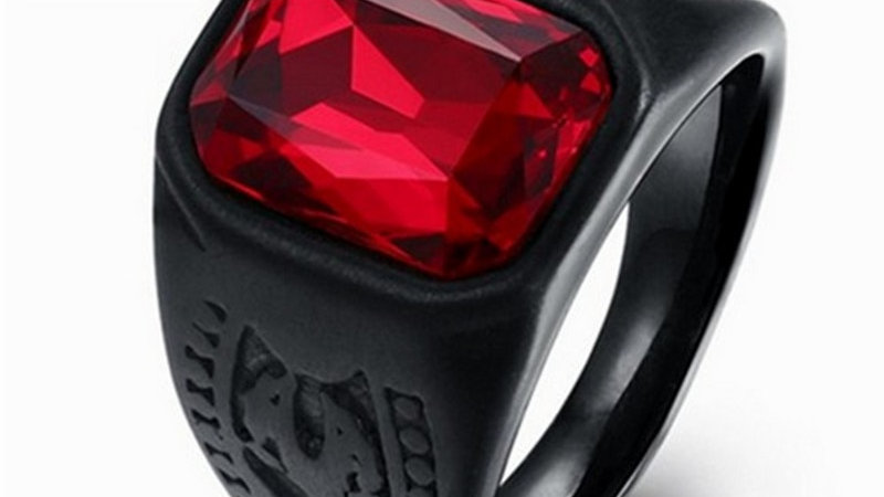 Men Ring Male Red Stone Black Ring