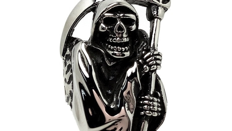 Biker Ring Stainless Steel High Quality Grim Reaper Skull Biker Ring