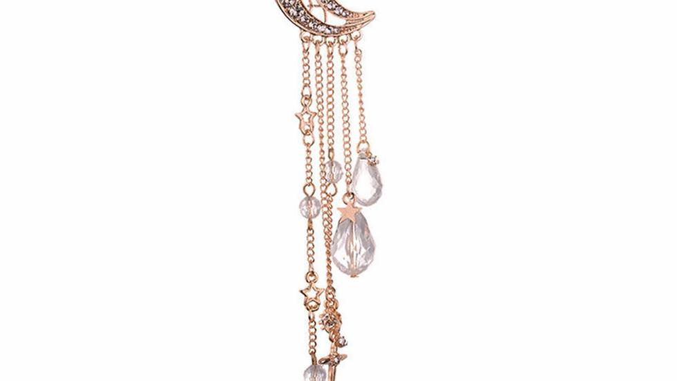 Fashion Elegant Women Lady Moon Rhinestone Crystal Tassel Long Chain