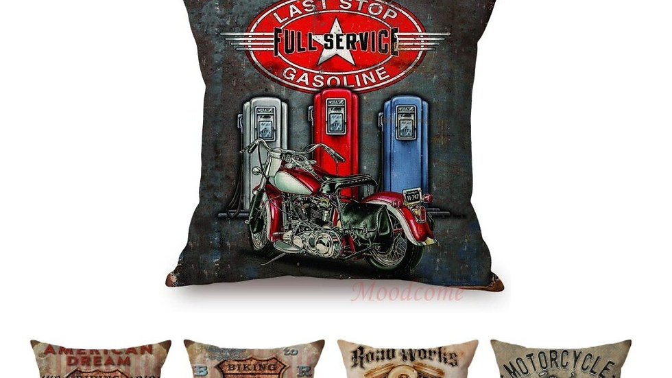 45x45 Cm Square Vintage Classic Motorcycle Poster Sofa Cushion Cover Home Decor