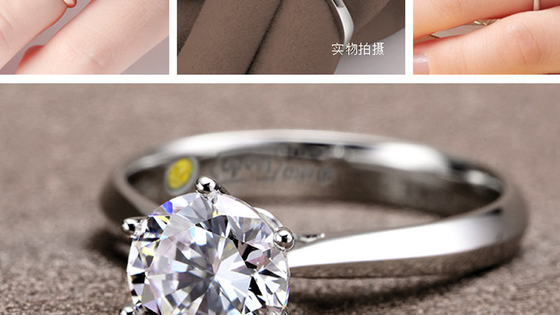 Romantic Rings Cubic Zirconia Ring for Women Sterling Silver Rings Accessories