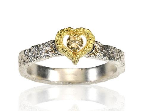 Champagne Diamond Heart Ring