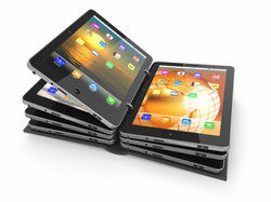 Opened book or folder from tablet pc. 3d.jpg