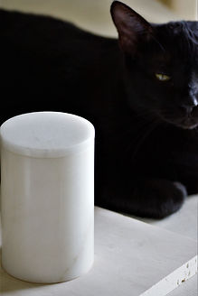 White Carrara Marble Candle with Model.j