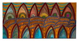 Die Säulen des Tempels      -         Mix-Technik mit Acryl & Öl auf Leinwand  100x50
