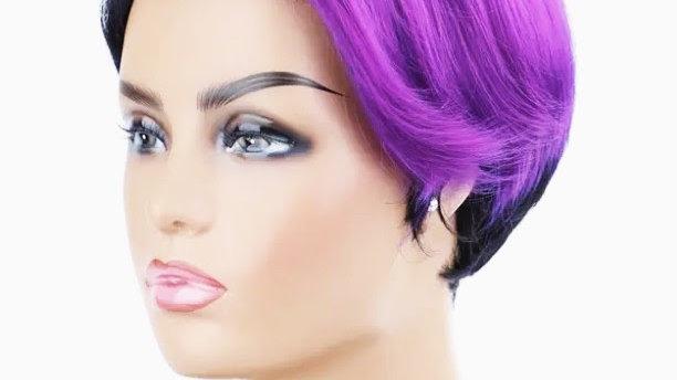 Left-Side Bang Violet Mix Natural Synthetic Hair