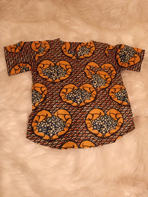 Kids Ankara African Shirt For Boys
