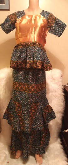 African Silk Top Skirt-Suit With Blouse
