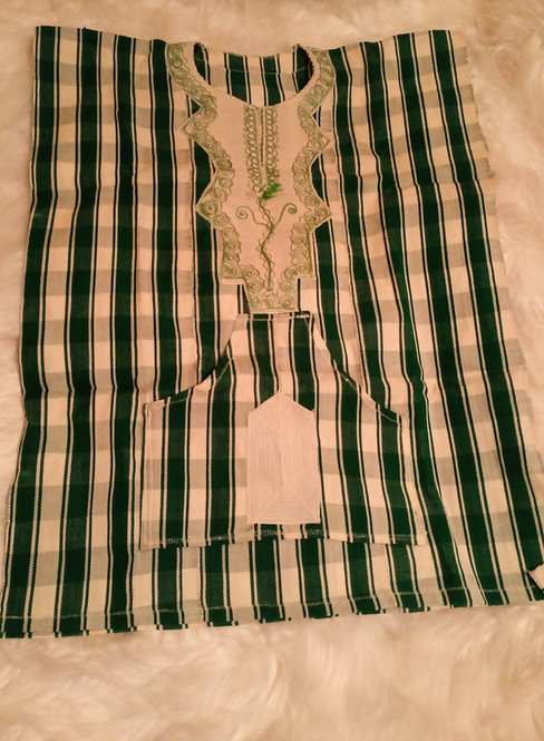 Green Stripes African Country Cloth Shirt
