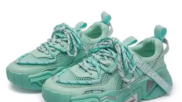 Teal Womens Chunky Sneaker Casual Canvas Shoes