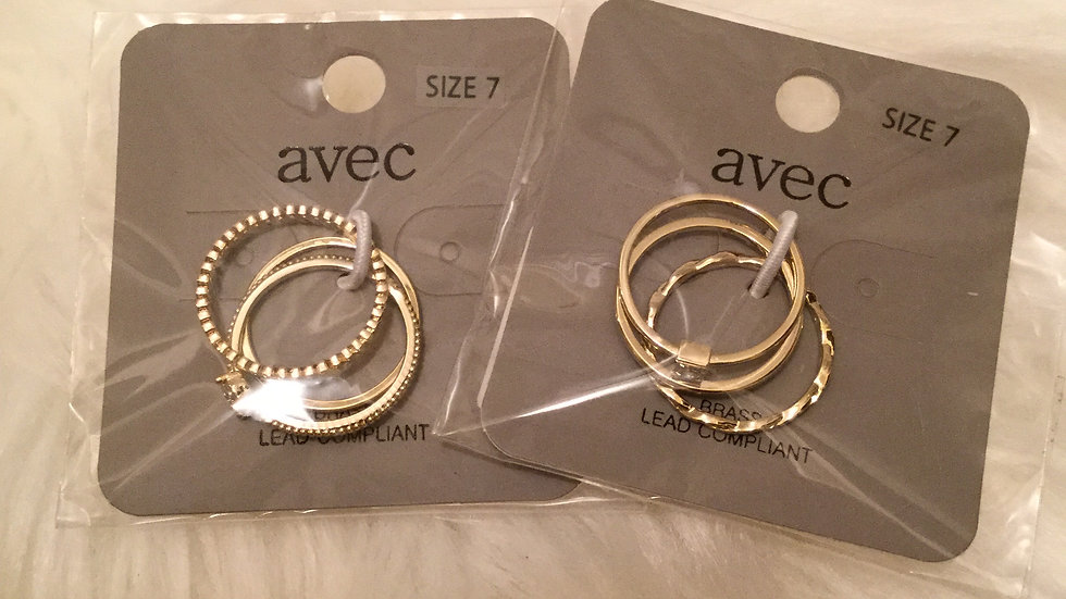 Agev Multi Pattern Ring Set Gold Clear