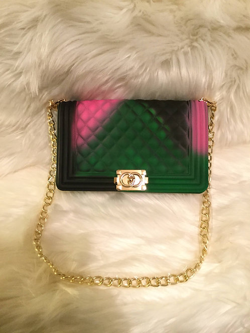 Black/Green/Pink Tiled Crossbody Clutch