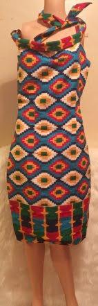 African No Sleeve Neck-Tie Dress