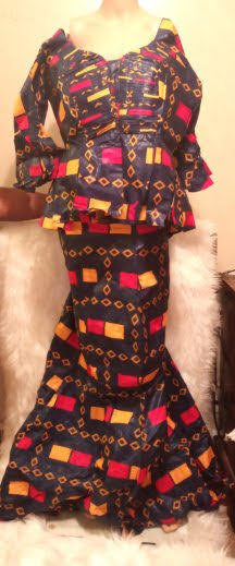 African Traditional Skirt-Suit Blouse Wide Sleeves