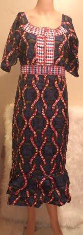 African Traditional Short-Sleeve Attire Dress