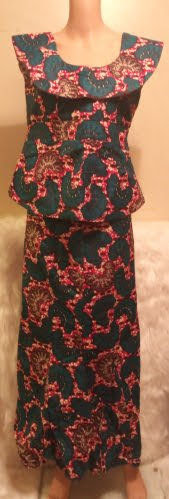 African Traditional Skirt Blouse No-Sleeve Dress