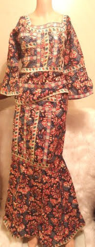 African Blouse Wide Sleeves With Skirt