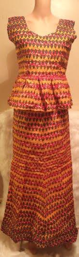 African Skirt-Suit Blouse Short Shoulder Sleeves