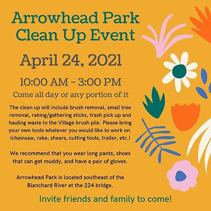 Arrowhead Park Clean Up Event Flyer 2021