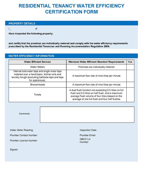 Residential Tenancy Water Efficiency Certification Form