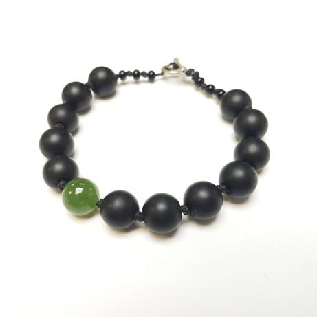 jade bracelet, black jade and Green jade with silver