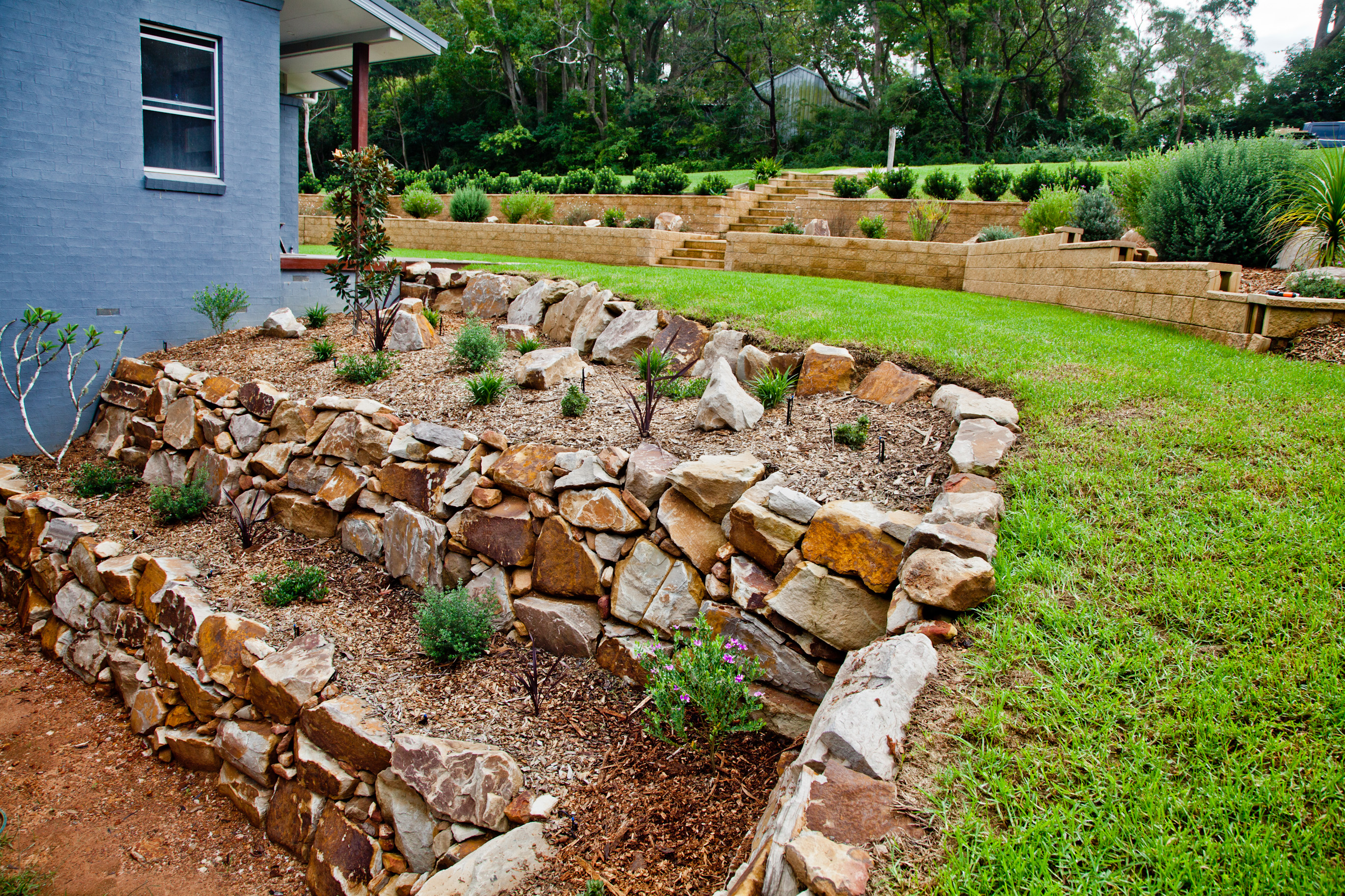 Pool Retaining Wall Landscape