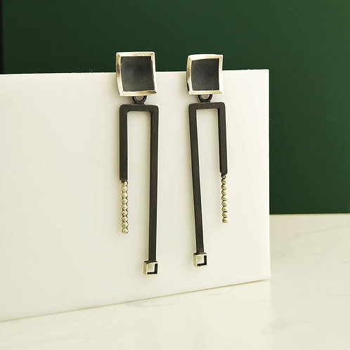 Art Deco Inspired Rectangular Drop Earrings