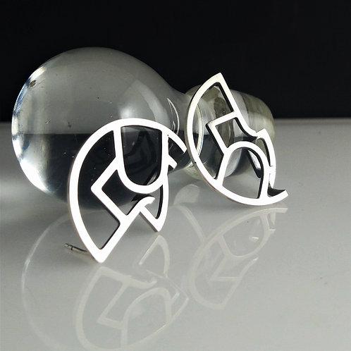 Modern Art Deco Folded Disc Earrings