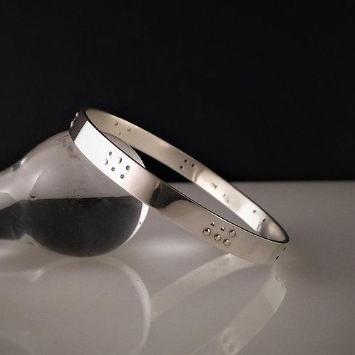 "Sterling silver Braille Bangle ""FOREVER"""