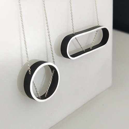 Minimalist ROUND or OVAL Outline Necklace
