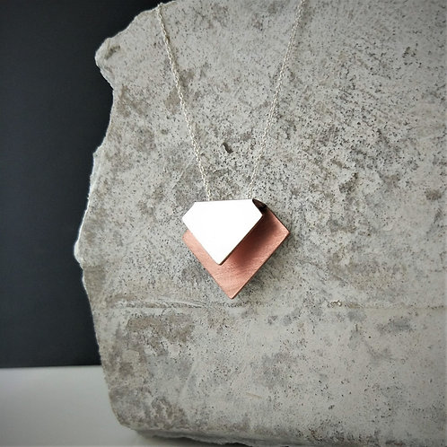 Silver + Copper two toned Square bi-fold necklace