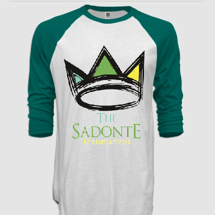 3/4 Sleeve Raglan Tee, White/Kelly Green