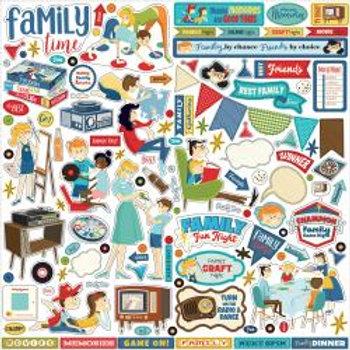 """Family fun Night Cardstock Stickers 12""""X12"""""""