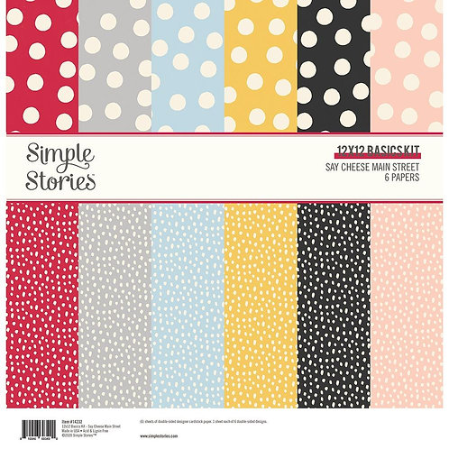 "Simple Stories Basics Double-Sided Paper Pack 12""X12"" 6/Pkg"