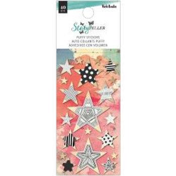 Vicki Boutin Storyteller Puffy Stickers 40/Pkg Mini Stars W/Gold Foil Accents