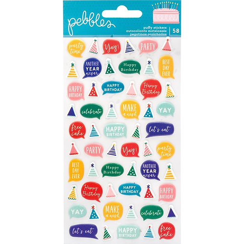 Happy Cake Day Puffy Stickers 58/Pkg