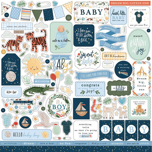 Welcome Baby Boy - 12x12 Stickers