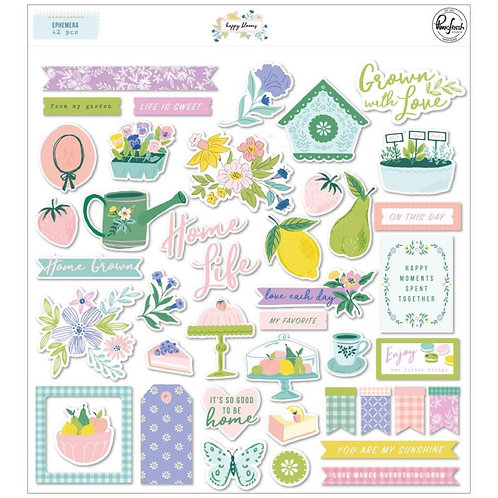 PinkFresh Elements  Puffy Stickers  - Happy Blooms